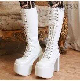 "Goth Punk Visual Kei Cosplay Nurse Guro Loli 6"" Chunky Heel Platform Boots"