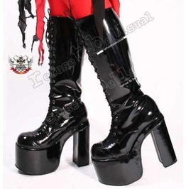 "Goth Punk Visual Kei Cosplay Pvc Shiny Patent Black 6"" Platform Knee Boots"