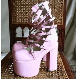 """Cyber Vamp Gothic Lolita 8 Spider Strap Buckle 6"""" Boots Pink"""