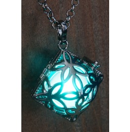 Teal Square Glowing Orb Pendant Necklace Locket Gun Metal Black