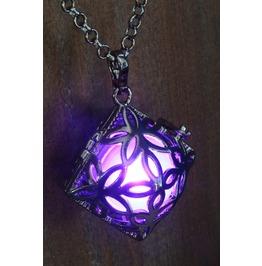 Purple Square Glowing Orb Pendant Necklace Locket Gun Metal Black