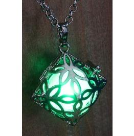 Green Square Glowing Orb Pendant Necklace Locket Gun Metal Black
