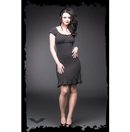Black Polka Dot Frilly Short Puff Sleeve Pin Up Rockabilly Dress $9 To Ship