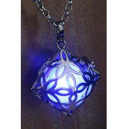 Blue Square Glowing Orb Pendant Necklace Locket Gun Metal Black