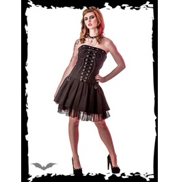 Black Strapless Corset Lacing D Ring 2 Layer Mini Dress $9 To Ship