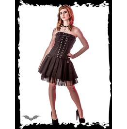 Black Strapless Corset Lacing D Ring 2 Layer Mini Dress $9 To Ship