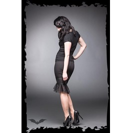 Knee Length Black Fitted Fishnet Trim Pencil Skirt $9 Worldwide Shipping