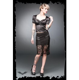 Black 2 Layer Lace Goth Pencil Skirt With Zippers