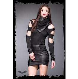 Black Form Fitting Faux Leather Panel Mini Skirt $9 Worldwide Shipping