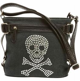 Rhinestone Skull Goth Punk Shoulder Bag Purse With Faux Leather Trim
