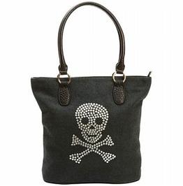 Rhinestone Skull Goth Punk Hand Bag Purse