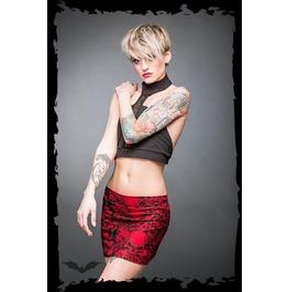 Red Black Skull Print Super Gothic Punk Mini Skirt $9 Worldwide Shipping