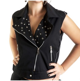 Black Biker Studded Vest Stars Jacket Zippers Punk Rock Tattoo Top Handmade
