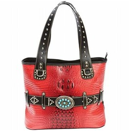 Casual Red Faux Leather Handbag Purse With Turquoise Buckle