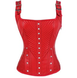 Sexy Leather Buckle Strap Red Overbust Corset