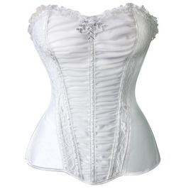 White Lace Trim Overbust Corset