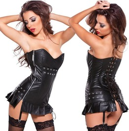 Faux Leather Rivets Studded Overbust Corset