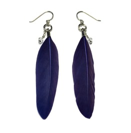 Feather And Teardrop Crystal Earrings Blue