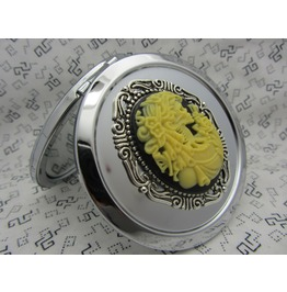 Compact Mirror Victorian Romantic Skeleton Comes With Protective Pouch