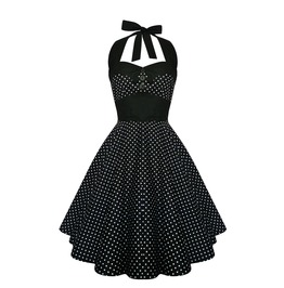 Rockabilly Polka Dot Dress Black Pin Up Dress Gothic Halloween Party Dress