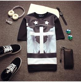 New Cross Pattern Print Hot Summer Spring Men T Shirt Luxury Brand Tee