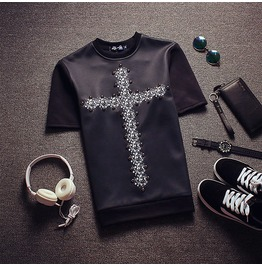 2016 Beaded Cross Pattern Quality Men T Shirt Luxury Brand Tee