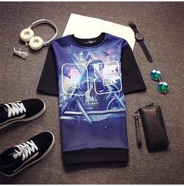 2016 Skull Theme Letter Triangle Print Quality Men T Shirt Luxury Brand Tee