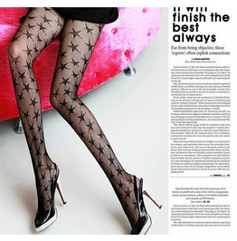 New Arrival Pentagram Pattern Sexy Black Women Pantyhose