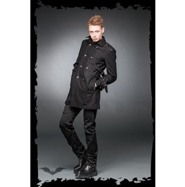 Black Wool High Collar Military Button Buckle Strap Coat