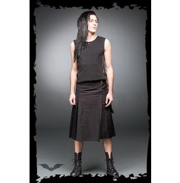 Mens Black Side Pocket Buckle Punk Utility Kilt