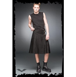 Mens Gothic Punk Black Buckle Utility Kilt Up To 5 Xl