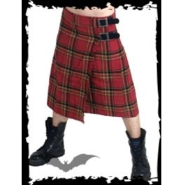 Mens Punk Red Plaid Buckle Utility Kilt Sizes Up To 4 Xl