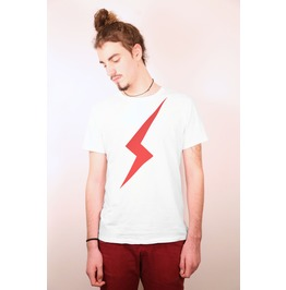 In Memory Of The White Duke David Bowie, His Iconic Red Lighting T Shirt