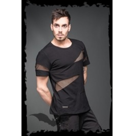 Mens Black Goth Industrial Tshirt With Fishnet Mesh