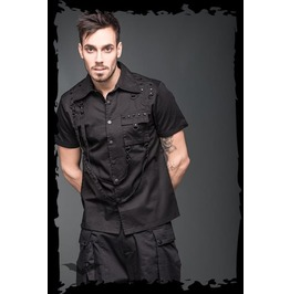 Goth Button Down Short Sleeve Punk Bondage Shirt Up To 4 Xl $9 Shipping
