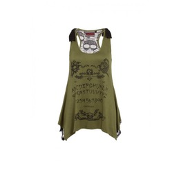 Ouija Occult Magic Mystic Green Tunic Top Alternative Punk Goth