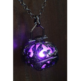 Purple Glowing Pendant Necklace Locket Gun Metal Black