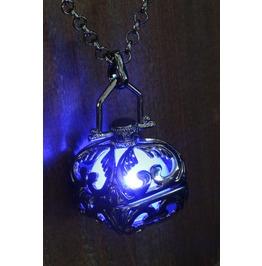 Blue Glowing Pendant Necklace Locket Black