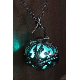 Teal Glowing Pendant Necklace Locket Black