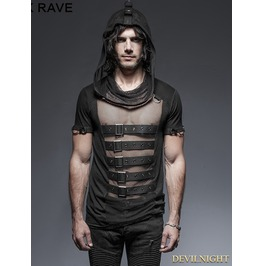 Black Gothic Hooded Mesh T Shirt For Men