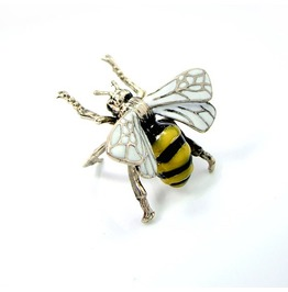 Bee Ring In White Bronze With Enamel Color Color