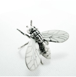 Fly Ring In White Bronze With Enamel Color Color