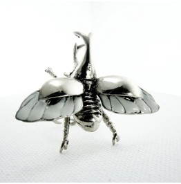 Rhino Beetle In White Bronze With Enamel Color Color