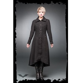 Long Black Decorative Stitching Victorian Gothic Coat $9 Worldwide Shipping