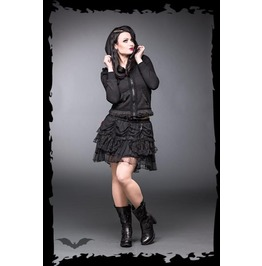 Ladies Black Gothic Front Zip Lace Trim Hoodie $9 Worldwide Shipping
