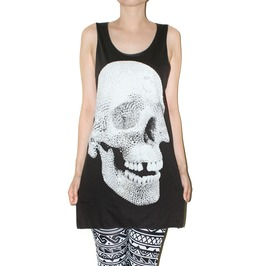 Crystal Diamond Skull Rock Charcho Black Tank Top Music Punk Shirt Size M