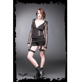 Ladies Black Gothic Punk Fishnet Zipper Jacket