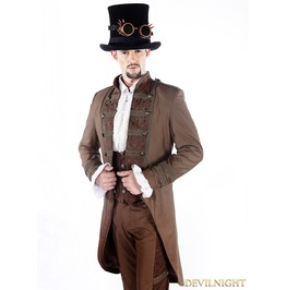 Brown Vintage Double Breasted Steampunk Jacket For Men