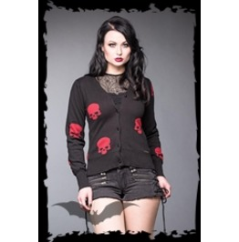 Black Red Skulls Gothic Rockabilly Cardigan Sweater $5 Worldwide Shipping