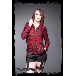Red Punk Hoodie Black Skulls Zip Front Goth Sweater $5 Worldwide Shipping